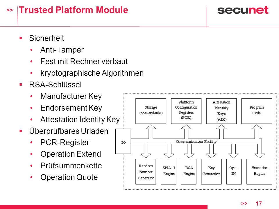 >> >>17 Trusted Platform Module Sicherheit Anti-Tamper Fest mit Rechner verbaut kryptographische Algorithmen RSA-Schlüssel Manufacturer Key Endorsemen
