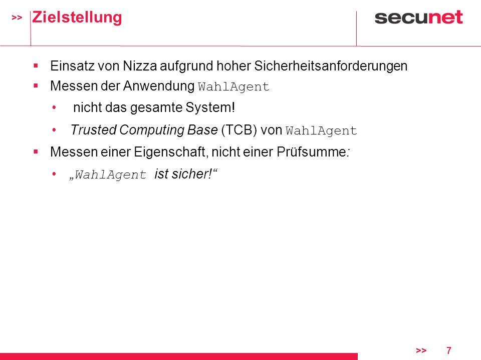 >> >>7 Zielstellung Einsatz von Nizza aufgrund hoher Sicherheitsanforderungen Messen der Anwendung WahlAgent nicht das gesamte System! Trusted Computi