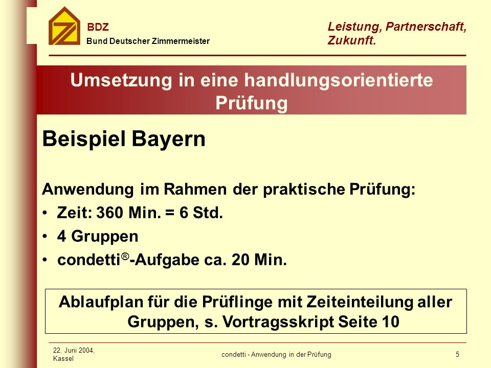 condetti - Anwendung in der Prüfung Bund Deutscher Zimmermeister BDZ Leistung, Partnerschaft, Zukunft. 22. Juni 2004, Kassel 5 Umsetzung in eine handl