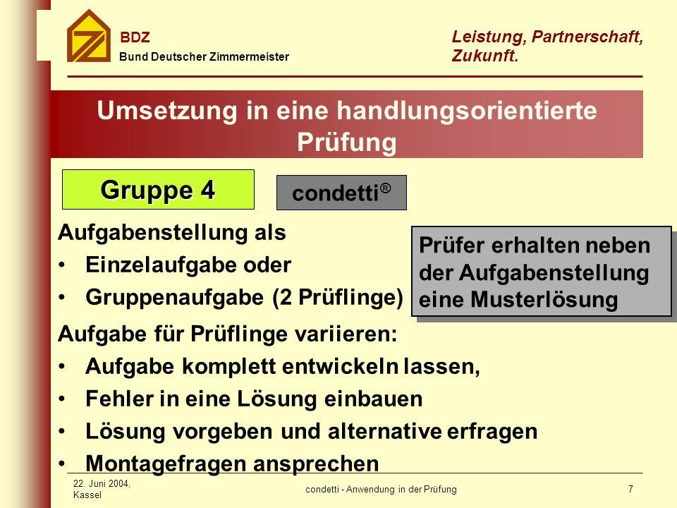 condetti - Anwendung in der Prüfung Bund Deutscher Zimmermeister BDZ Leistung, Partnerschaft, Zukunft. 22. Juni 2004, Kassel 7 Umsetzung in eine handl