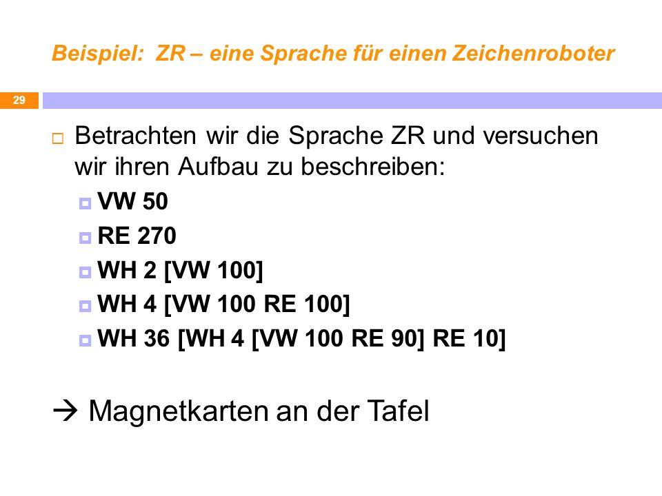 Beispiel: ZR – eine Sprache für einen Zeichenroboter Betrachten wir die Sprache ZR und versuchen wir ihren Aufbau zu beschreiben: VW 50 RE 270 WH 2 [V