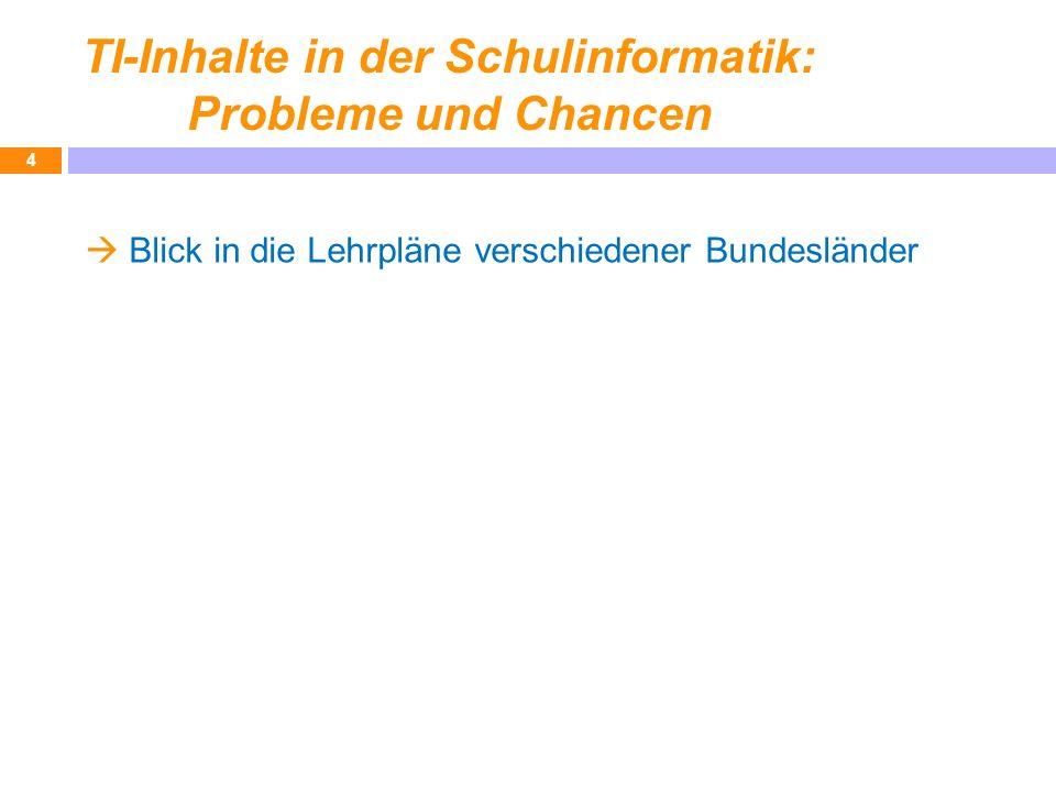 TI-Inhalte in der Schulinformatik: Probleme und Chancen Blick in die Lehrpläne verschiedener Bundesländer 4