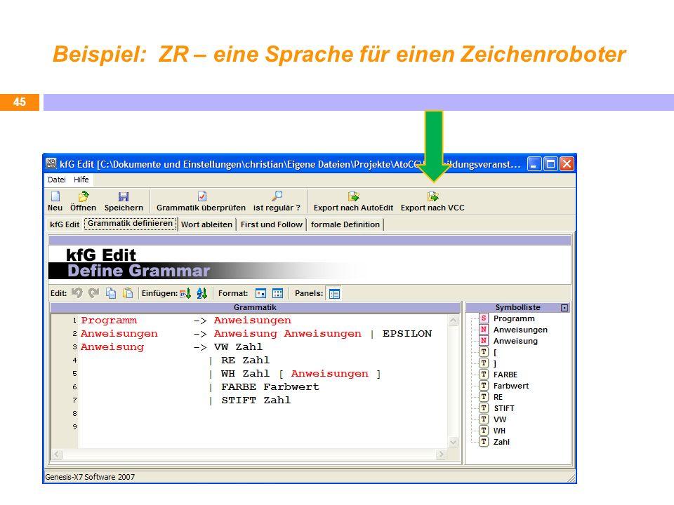 Beispiel: ZR – eine Sprache für einen Zeichenroboter 45