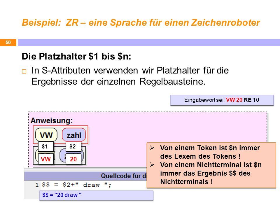 Beispiel: ZR – eine Sprache für einen Zeichenroboter Die Platzhalter $1 bis $n: In S-Attributen verwenden wir Platzhalter für die Ergebnisse der einze