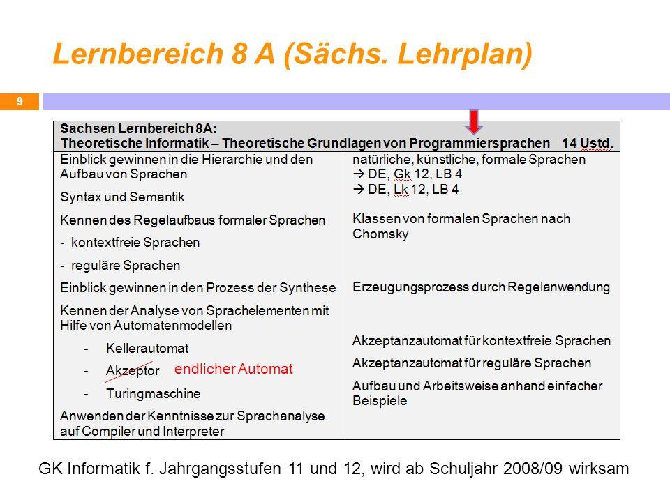 Lernbereich 8 A (Sächs. Lehrplan) 9 GK Informatik f. Jahrgangsstufen 11 und 12, wird ab Schuljahr 2008/09 wirksam endlicher Automat