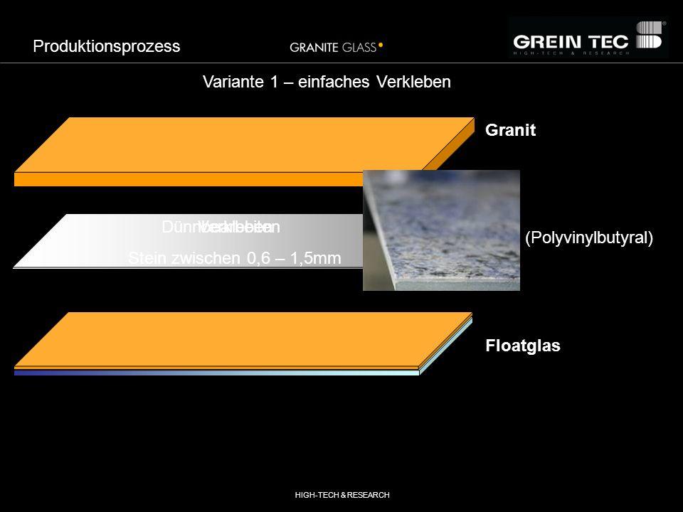 HIGH-TECH & RESEARCH PVB (Polyvinylbutyral) Floatglas Granit Variante 2 – doppeltes Verkleben VerklebenSpalten & Dünnbearbeiten PVB (Polyvinylbutyral) Floatglas Produktionsprozess