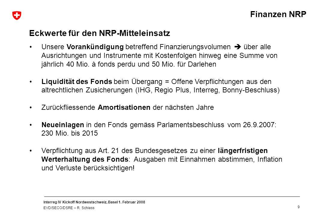 Interreg IV Kickoff Nordwestschweiz, Basel 1. Februar 2008 EVD/SECO/DSRE – R. Schiess 9 Unsere Vorankündigung betreffend Finanzierungsvolumen über all