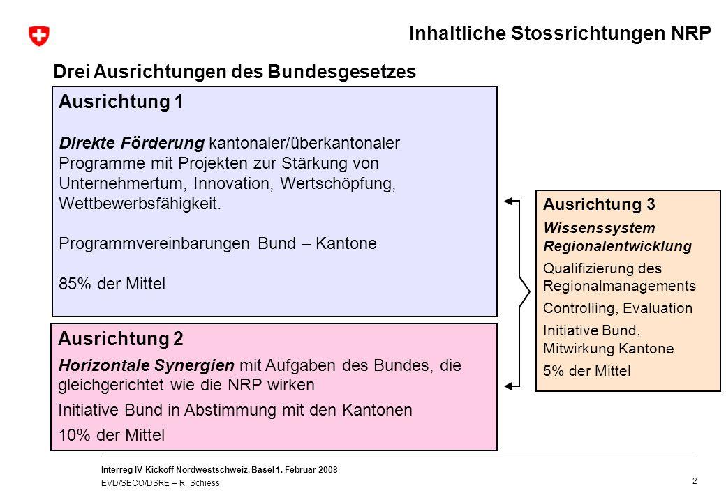 Interreg IV Kickoff Nordwestschweiz, Basel 1. Februar 2008 EVD/SECO/DSRE – R. Schiess 2 Ausrichtung 1 Direkte Förderung kantonaler/überkantonaler Prog
