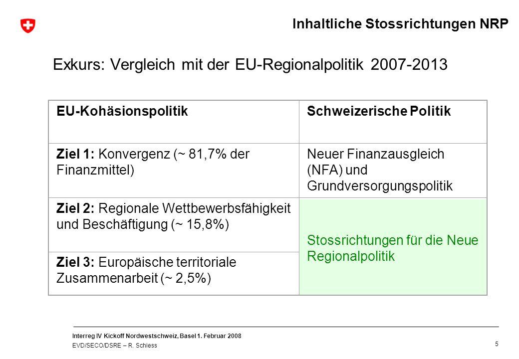 Interreg IV Kickoff Nordwestschweiz, Basel 1. Februar 2008 EVD/SECO/DSRE – R. Schiess 5 Exkurs: Vergleich mit der EU-Regionalpolitik 2007-2013 EU-Kohä