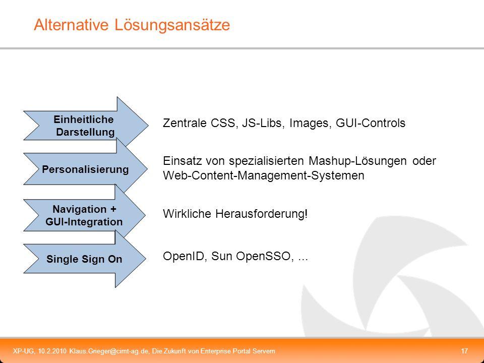 XP-UG, 10.2.2010 Klaus.Grieger@cimt-ag.de, Die Zukunft von Enterprise Portal Servern17 Alternative Lösungsansätze Einheitliche Darstellung Personalisi
