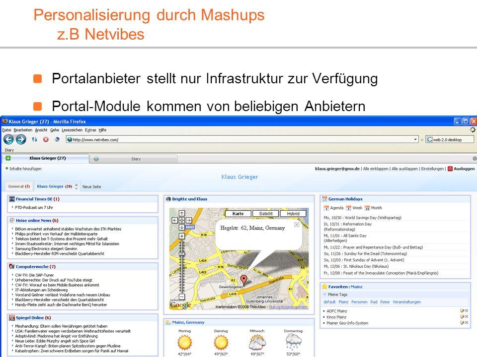 XP-UG, 10.2.2010 Klaus.Grieger@cimt-ag.de, Die Zukunft von Enterprise Portal Servern18 Personalisierung durch Mashups z.B Netvibes Portalanbieter stel
