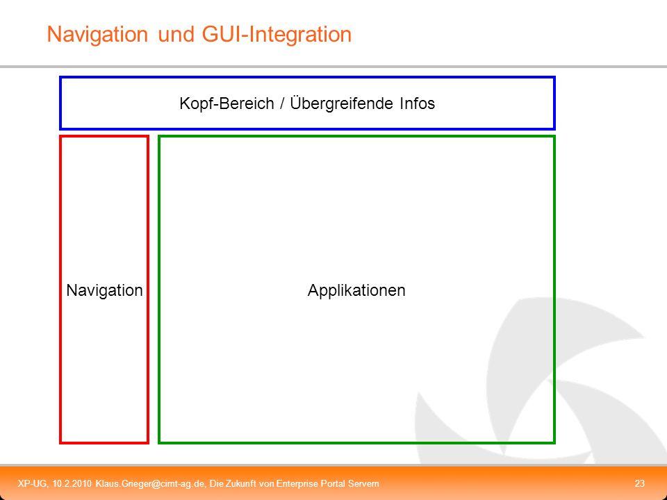 XP-UG, 10.2.2010 Klaus.Grieger@cimt-ag.de, Die Zukunft von Enterprise Portal Servern23 Navigation und GUI-Integration Kopf-Bereich / Übergreifende Inf