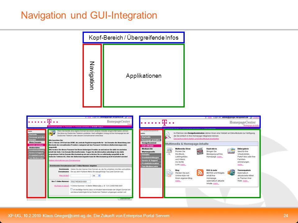 XP-UG, 10.2.2010 Klaus.Grieger@cimt-ag.de, Die Zukunft von Enterprise Portal Servern24 Navigation und GUI-Integration Kopf-Bereich / Übergreifende Inf