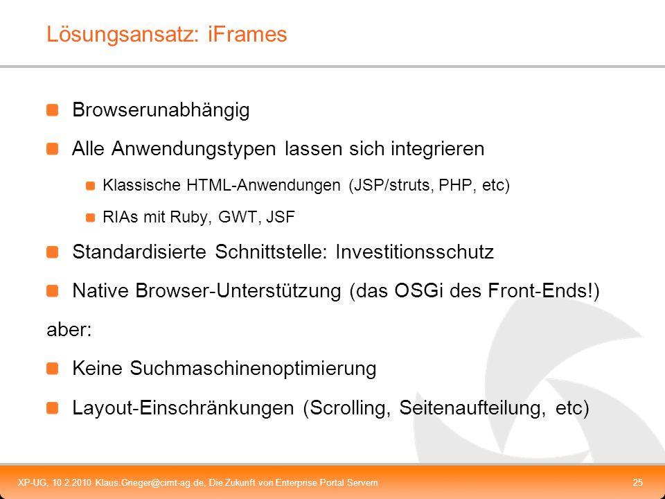 XP-UG, 10.2.2010 Klaus.Grieger@cimt-ag.de, Die Zukunft von Enterprise Portal Servern25 Lösungsansatz: iFrames Browserunabhängig Alle Anwendungstypen l