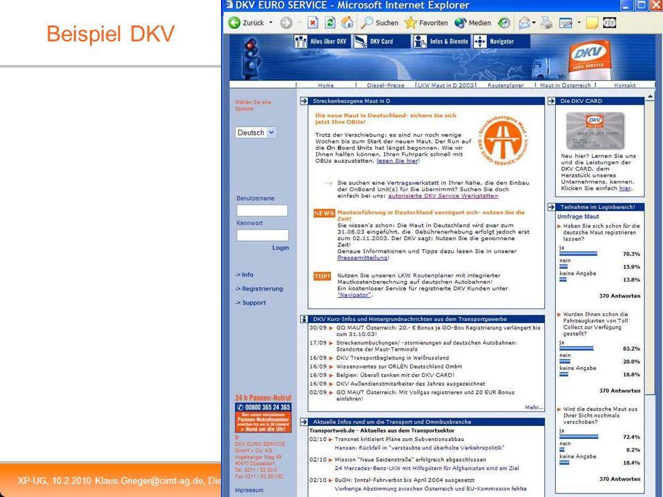 XP-UG, 10.2.2010 Klaus.Grieger@cimt-ag.de, Die Zukunft von Enterprise Portal Servern6 Beispiel DKV
