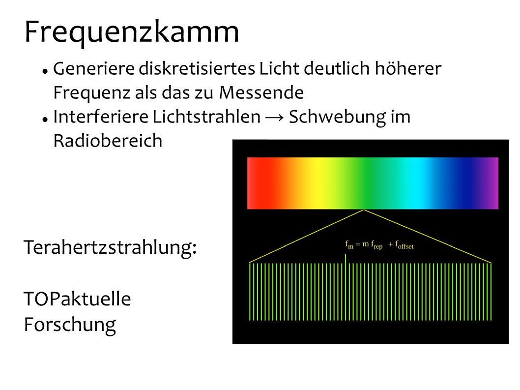 Frequenzkamm Generiere diskretisiertes Licht deutlich höherer Frequenz als das zu Messende Interferiere Lichtstrahlen Schwebung im Radiobereich Terahe