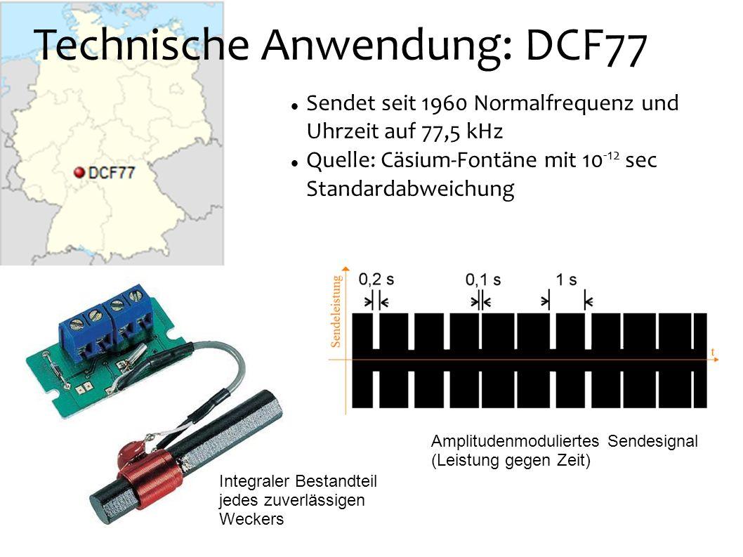 Technische Anwendung: DCF77 Sendet seit 1960 Normalfrequenz und Uhrzeit auf 77,5 kHz Quelle: Cäsium-Fontäne mit 10 -12 sec Standardabweichung Integral