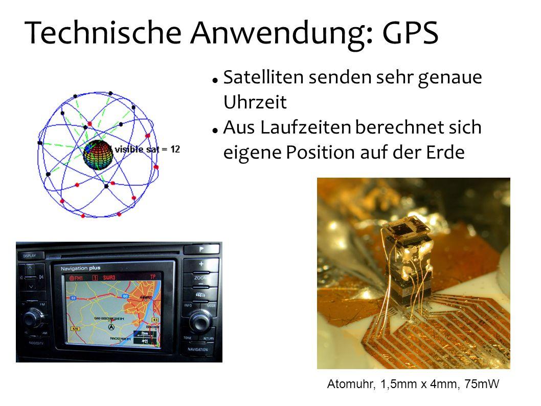 Technische Anwendung: GPS Satelliten senden sehr genaue Uhrzeit Aus Laufzeiten berechnet sich eigene Position auf der Erde Atomuhr, 1,5mm x 4mm, 75mW
