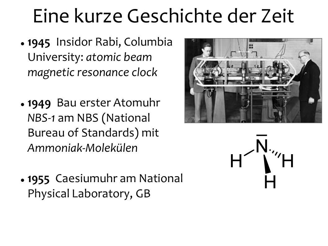 1967 SI: Die Sekunde ist das 9 192 631 770fache der Periodendauer der dem Übergang zwischen den beiden Hyperfeinstrukturniveaus des Grundzustandes von Atomen des Nuklids 133Cs entsprechenden Strahlung.