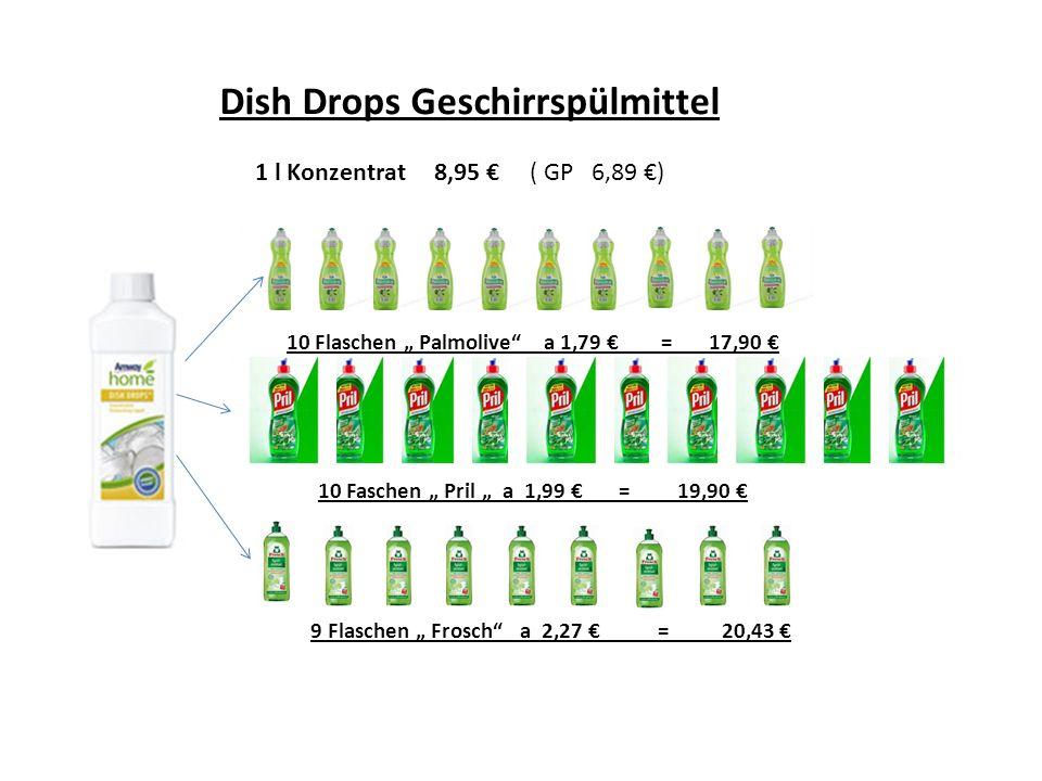Dish Drops Geschirrspülmittel 1 l Konzentrat 8,95 ( GP 6,89 ) 10 Flaschen Palmolive a 1,79 = 17,90 10 Faschen Pril a 1,99 = 19,90 9 Flaschen Frosch a