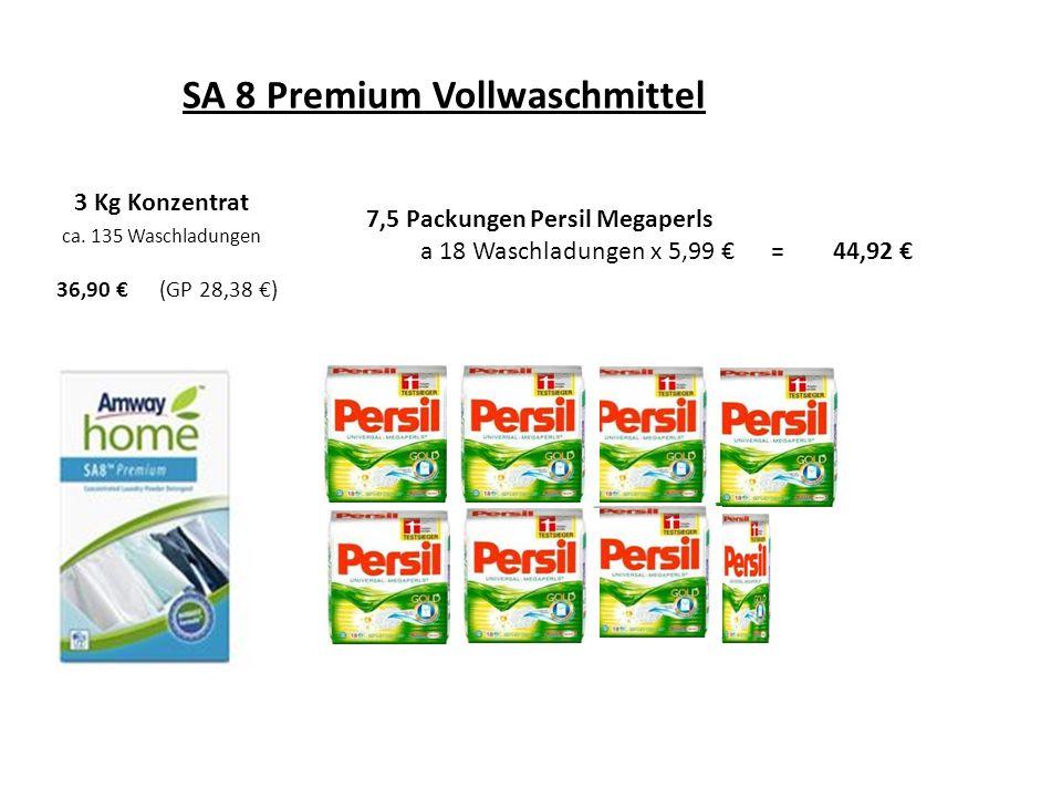 SA 8 Premium Vollwaschmittel 3 Kg Konzentrat ca. 135 Waschladungen 36,90 (GP 28,38 ) 7,5 Packungen Persil Megaperls a 18 Waschladungen x 5,99 = 44,92