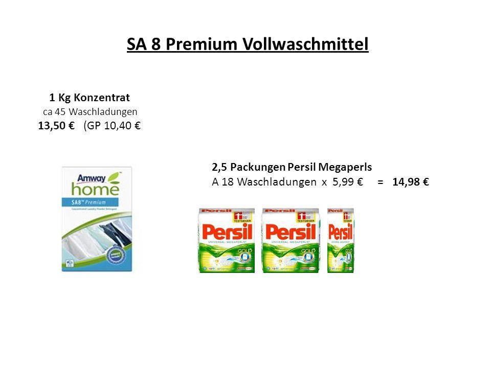 SA 8 Premium Vollwaschmittel 1 Kg Konzentrat ca 45 Waschladungen 13,50 (GP 10,40 2,5 Packungen Persil Megaperls A 18 Waschladungen x 5,99 = 14,98