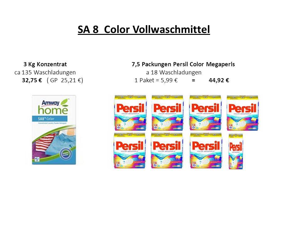 SA 8 Color Vollwaschmittel 3 Kg Konzentrat7,5 Packungen Persil Color Megaperls ca 135 Waschladungen a 18 Waschladungen 32,75 ( GP 25,21 ) 1 Paket = 5,