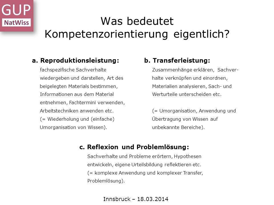 Was bedeutet Kompetenzorientierung eigentlich? Innsbruck – 18.03.2014 a. Reproduktionsleistung: fachspezifische Sachverhalte wiedergeben und darstelle