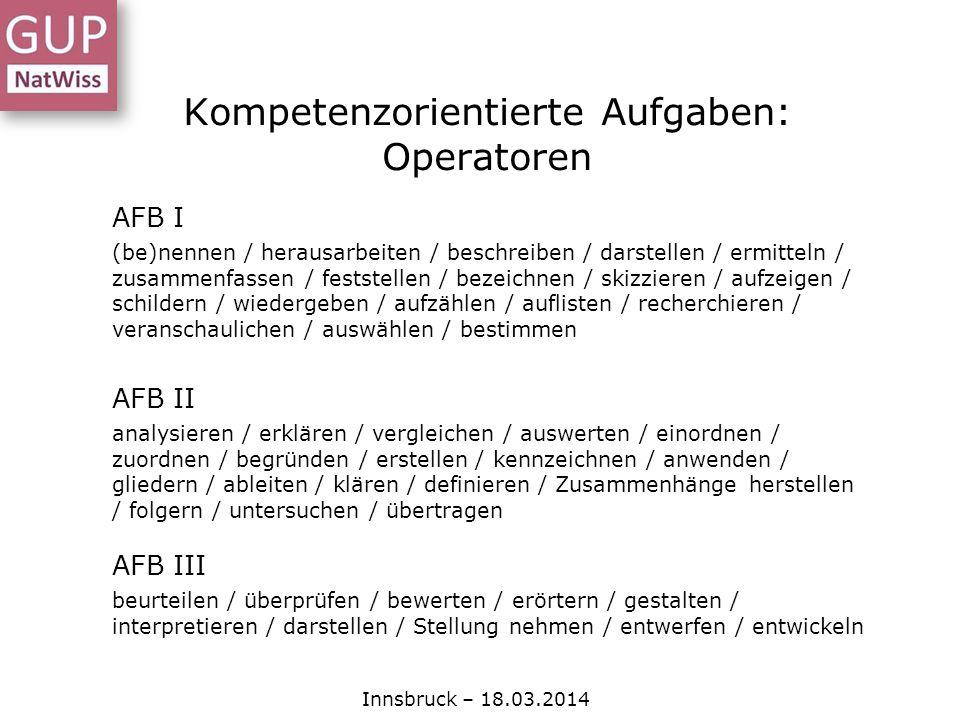 Kompetenzorientierte Aufgaben: Operatoren Innsbruck – 18.03.2014 AFB I (be)nennen / herausarbeiten / beschreiben / darstellen / ermitteln / zusammenfa