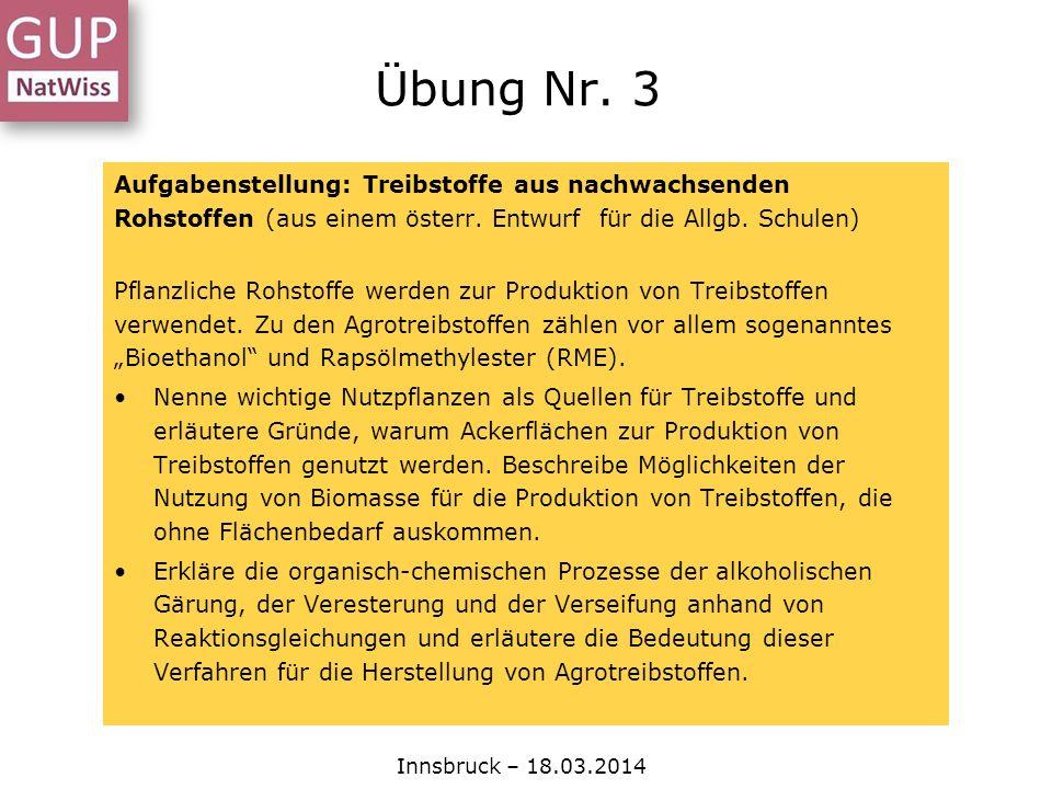Aufgabenstellung: Treibstoffe aus nachwachsenden Rohstoffen (aus einem österr. Entwurf für die Allgb. Schulen) Pflanzliche Rohstoffe werden zur Produk