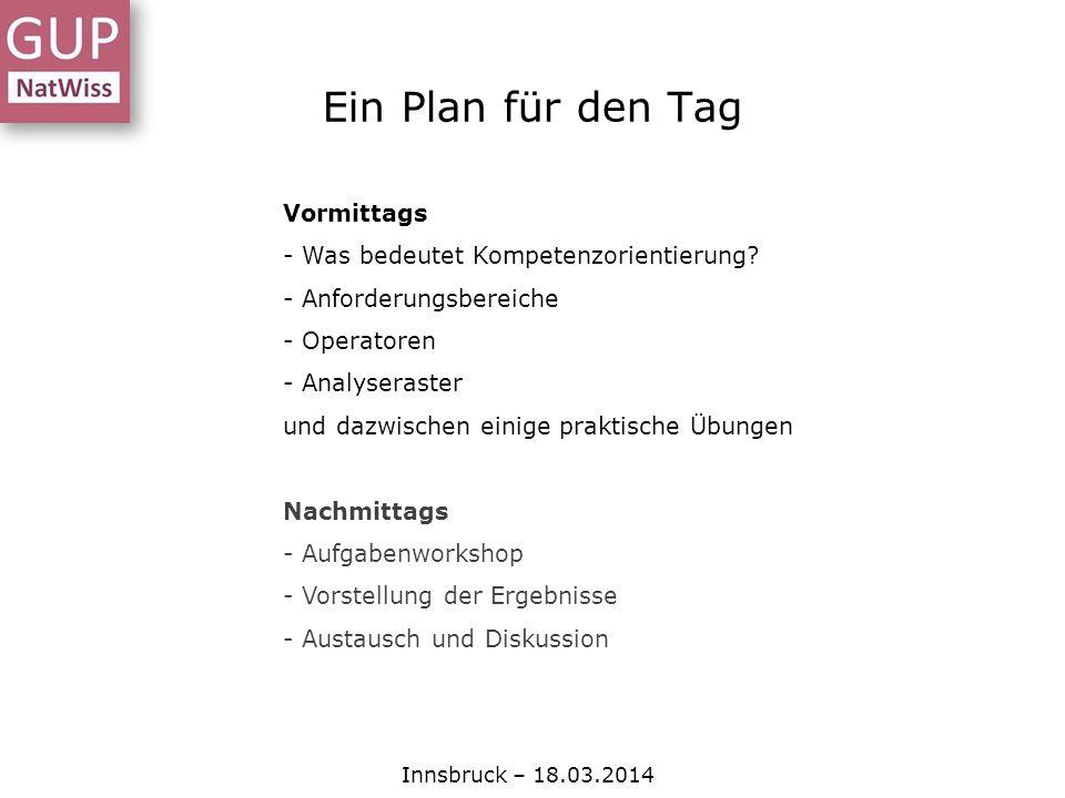 Ein Plan für den Tag Innsbruck – 18.03.2014 Vormittags - Was bedeutet Kompetenzorientierung? - Anforderungsbereiche - Operatoren - Analyseraster und d