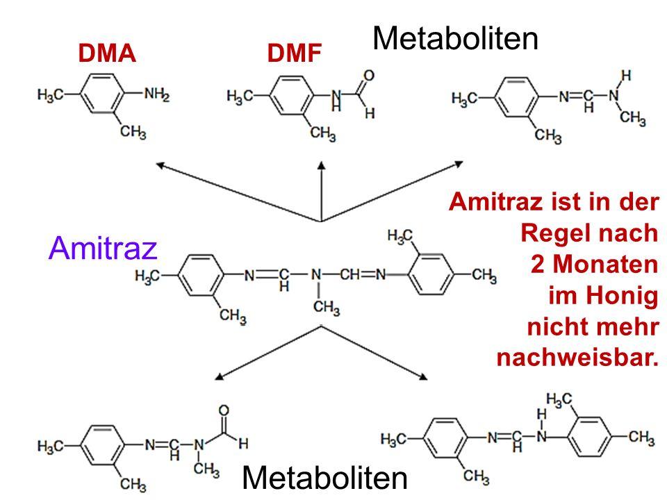 DMADMF Metaboliten Amitraz ist in der Regel nach 2 Monaten im Honig nicht mehr nachweisbar. Metaboliten