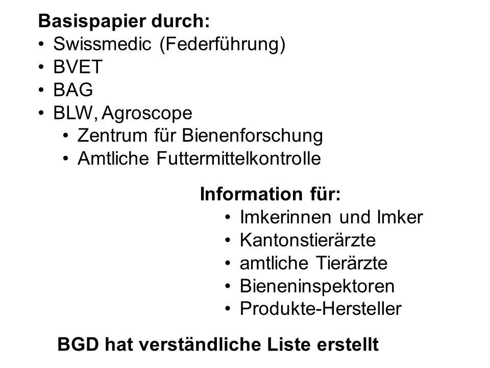 Basispapier durch: Swissmedic (Federführung) BVET BAG BLW, Agroscope Zentrum für Bienenforschung Amtliche Futtermittelkontrolle Information für: Imker