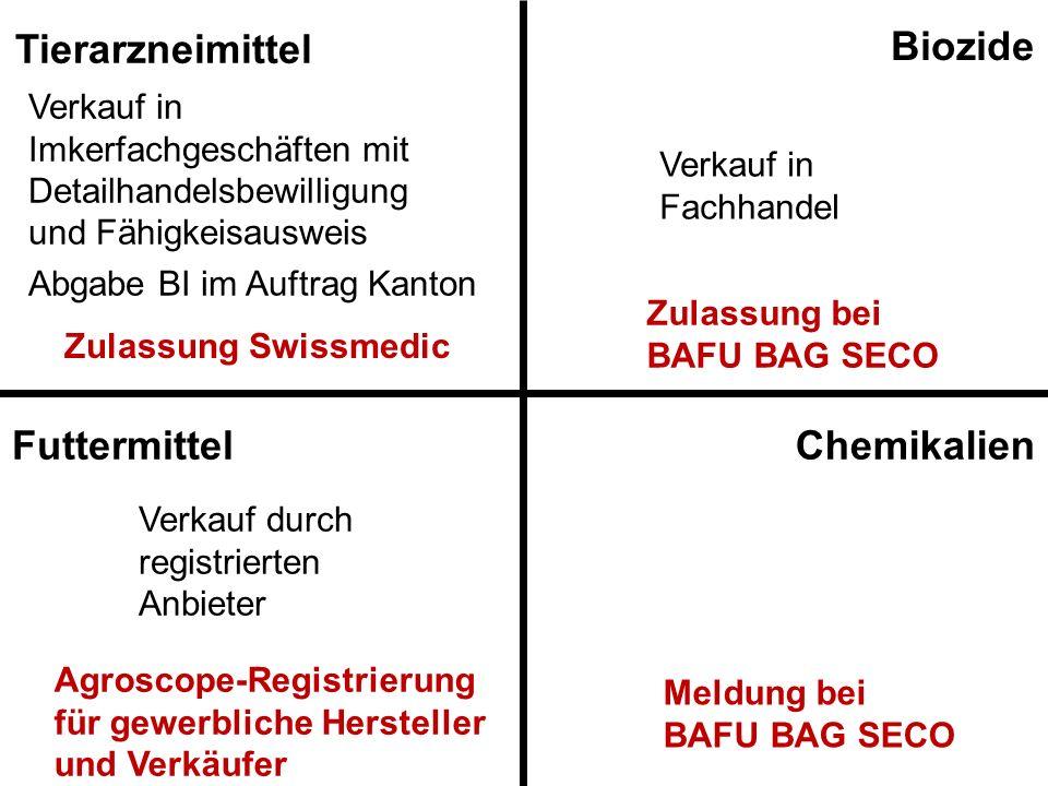 Tierarzneimittel Biozide Chemikalien Futtermittel Verkauf in Imkerfachgeschäften mit Detailhandelsbewilligung und Fähigkeisausweis Abgabe BI im Auftra