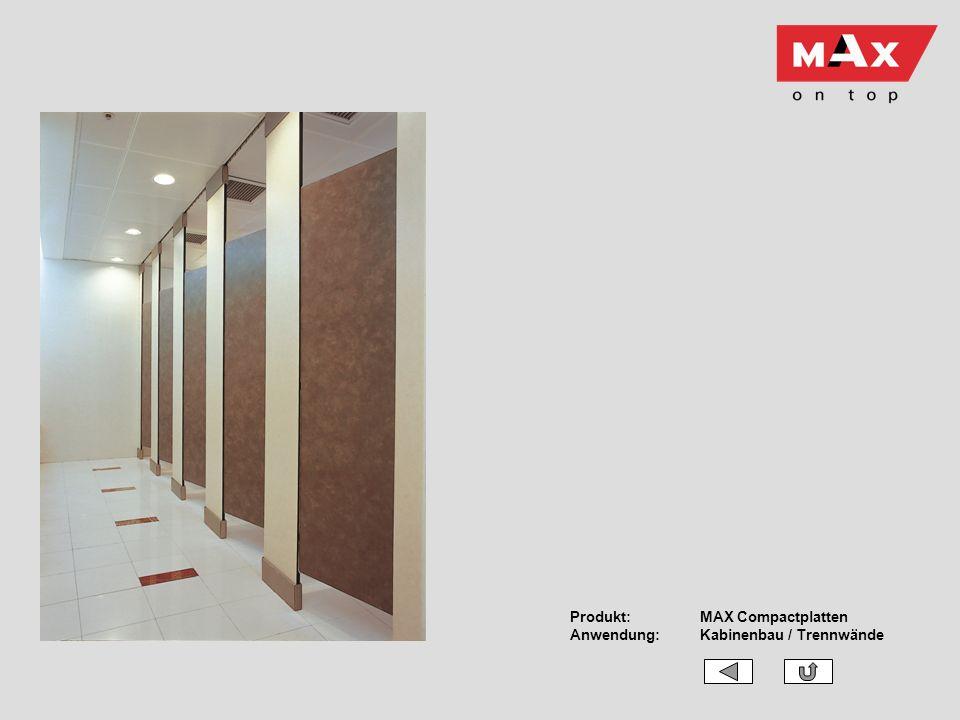 Produkt:MAX Compactplatten Anwendung:Kabinenbau / Trennwände