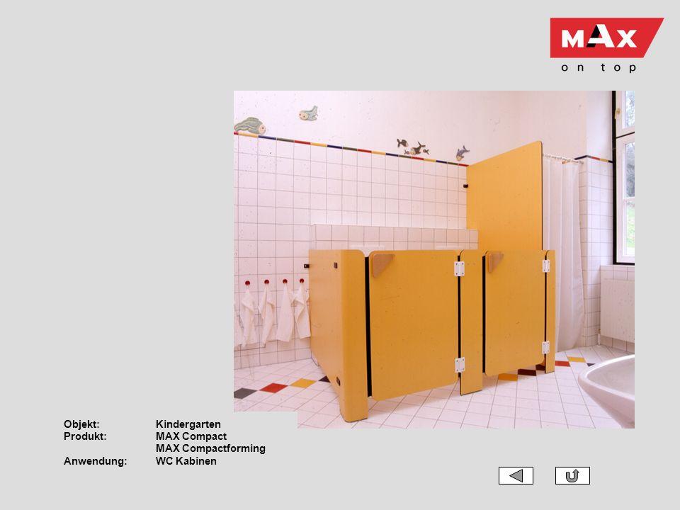 Objekt:Kindergarten Produkt:MAX Compact MAX Compactforming Anwendung:WC Kabinen