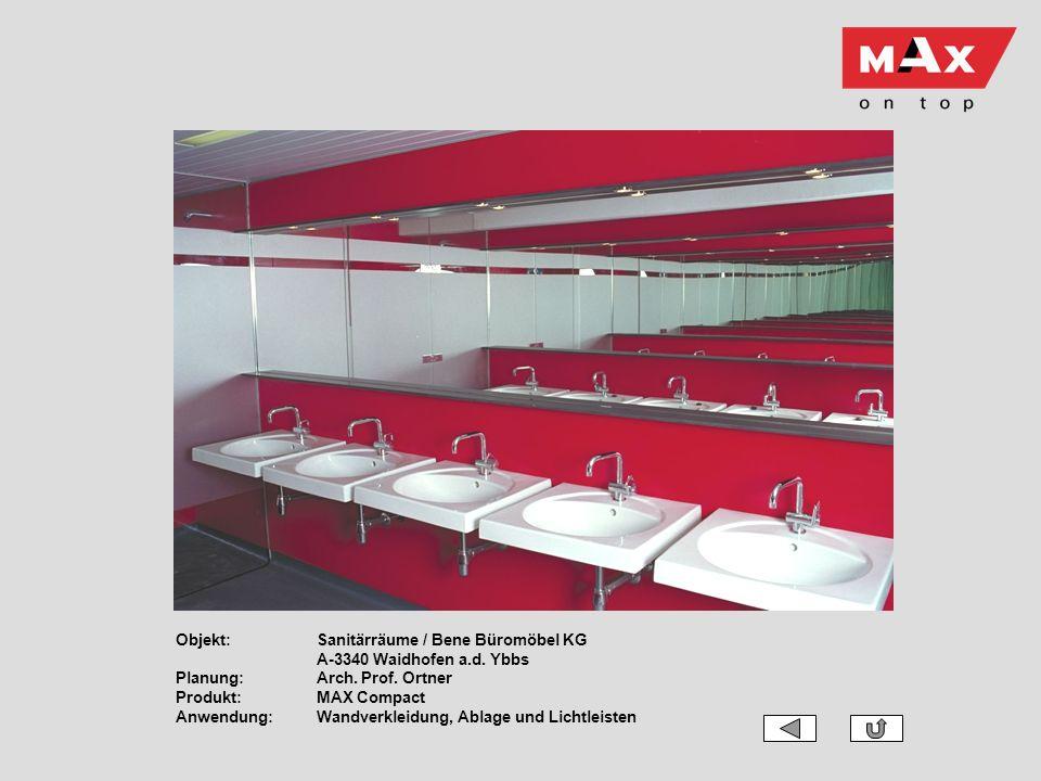 Objekt:Sanitärräume / Bene Büromöbel KG A-3340 Waidhofen a.d. Ybbs Planung:Arch. Prof. Ortner Produkt:MAX Compact Anwendung:Wandverkleidung, Ablage un