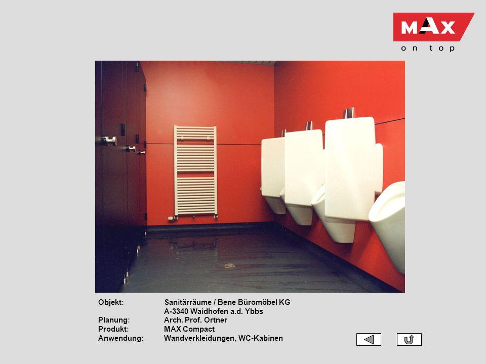 Objekt:Sanitärräume / Bene Büromöbel KG A-3340 Waidhofen a.d. Ybbs Planung:Arch. Prof. Ortner Produkt:MAX Compact Anwendung:Wandverkleidungen, WC-Kabi