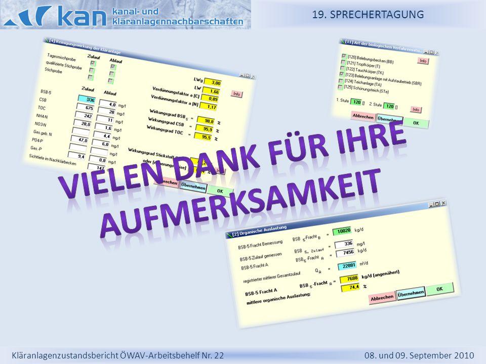 19. SPRECHERTAGUNG Kläranlagenzustandsbericht ÖWAV-Arbeitsbehelf Nr. 22 08. und 09. September 2010