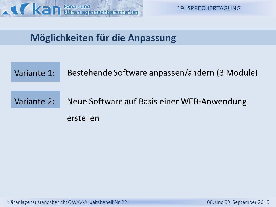 19. SPRECHERTAGUNG Kläranlagenzustandsbericht ÖWAV-Arbeitsbehelf Nr. 22 08. und 09. September 2010 Möglichkeiten für die Anpassung Bestehende Software
