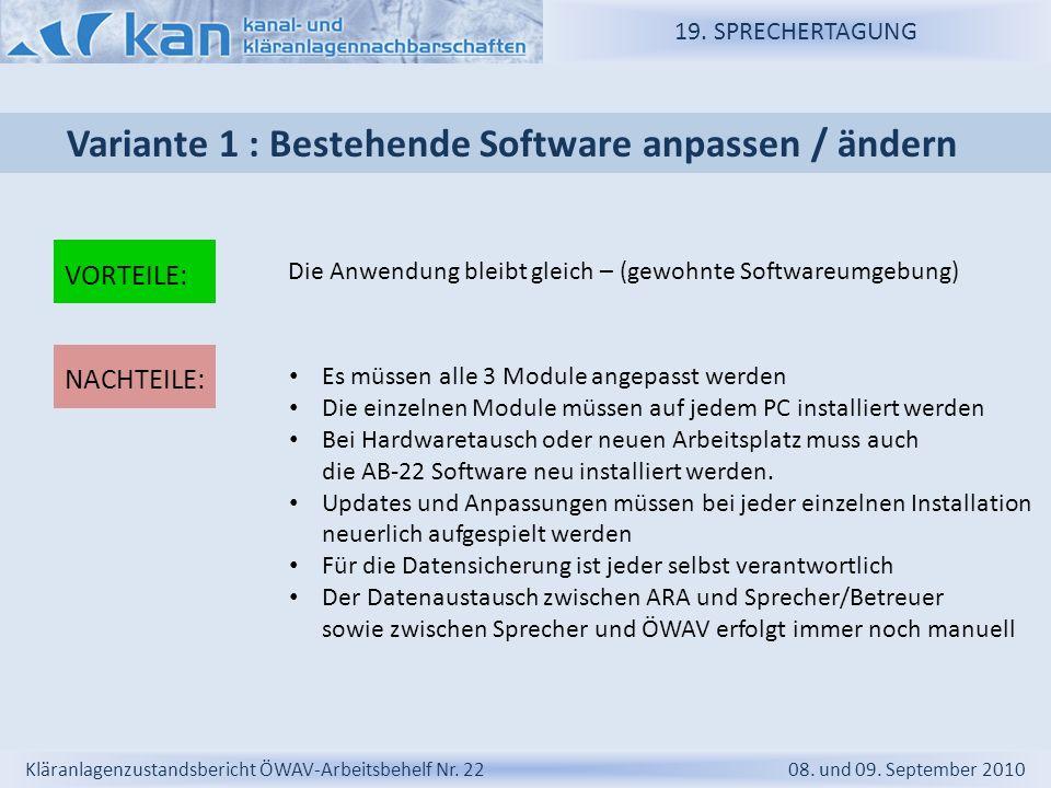 19. SPRECHERTAGUNG Kläranlagenzustandsbericht ÖWAV-Arbeitsbehelf Nr. 22 08. und 09. September 2010 Variante 1 : Bestehende Software anpassen / ändern