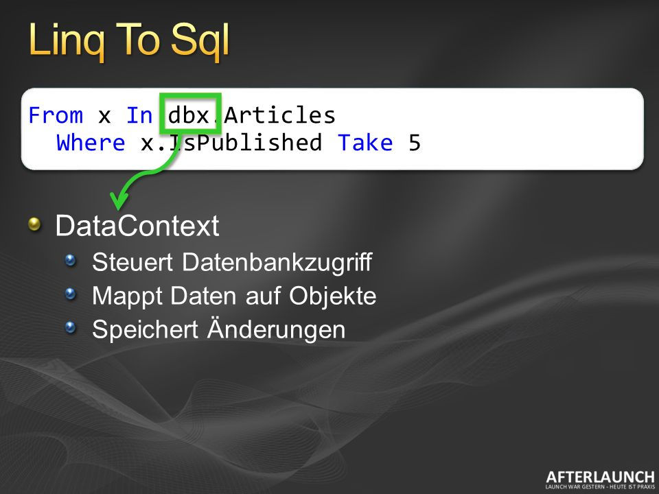 DataContext Steuert Datenbankzugriff Mappt Daten auf Objekte Speichert Änderungen From x In dbx.Articles Where x.IsPublished Take 5