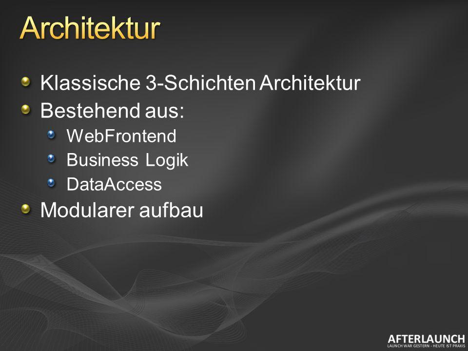 Klassische 3-Schichten Architektur Bestehend aus: WebFrontend Business Logik DataAccess Modularer aufbau