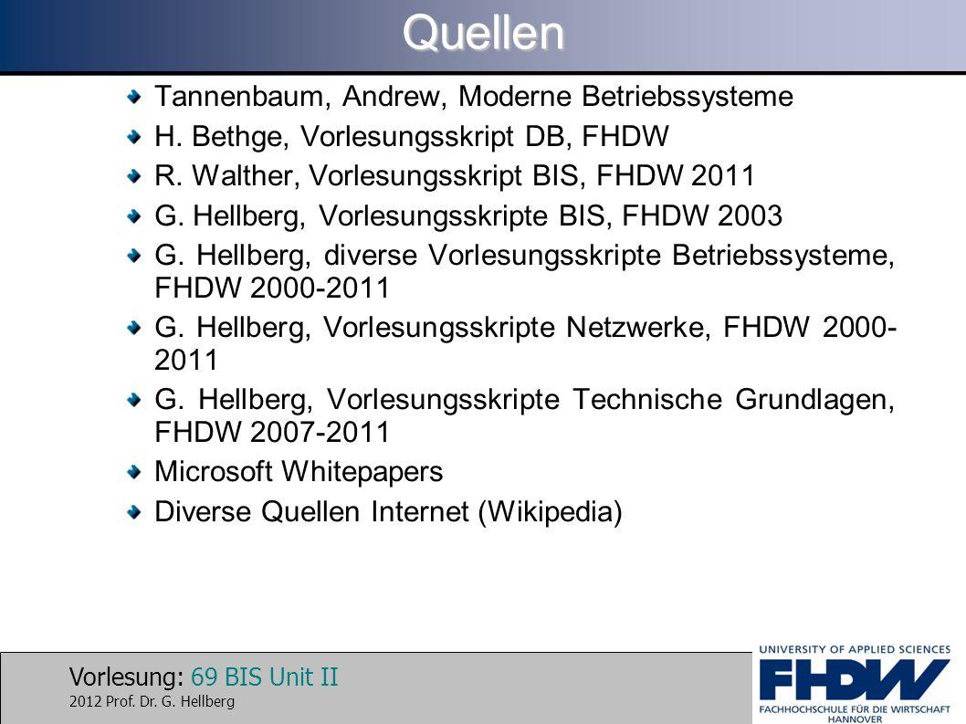 Vorlesung: 69 BIS Unit II 2012 Prof. Dr. G. HellbergQuellen Tannenbaum, Andrew, Moderne Betriebssysteme H. Bethge, Vorlesungsskript DB, FHDW R. Walthe