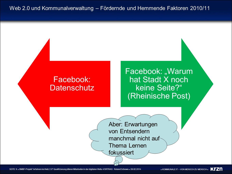 » KOMMUNALE IT – VON MENSCH ZU MENSCH « Web 2.0 und Kommunalverwaltung – Fördernde und Hemmende Faktoren 2010/11 Facebook: Datenschutz Facebook: Warum