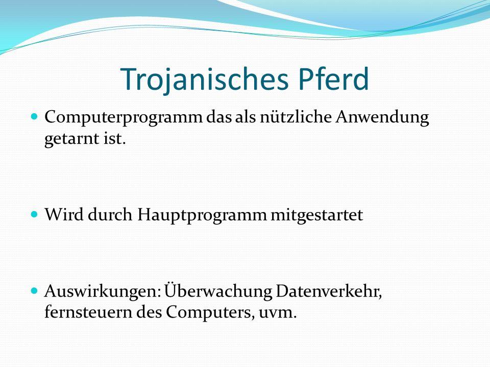 Trojanisches Pferd Computerprogramm das als nützliche Anwendung getarnt ist. Wird durch Hauptprogramm mitgestartet Auswirkungen: Überwachung Datenverk