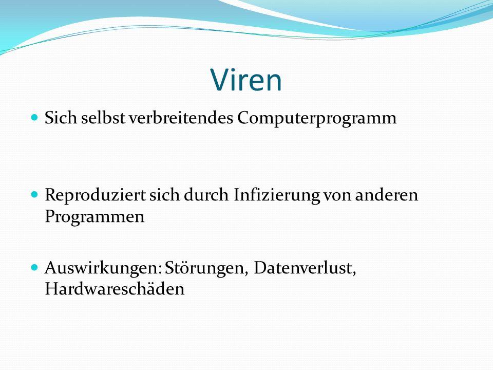 Würmer Computerprogramm das sich vervielfältigt nach dem es ausgeführt wurde Er befällt im Gegensatz zu einem Virus nicht andere Programme oder Daten Auswirkungen: nicht kontrollierbare Veränderungen am System(z.B.