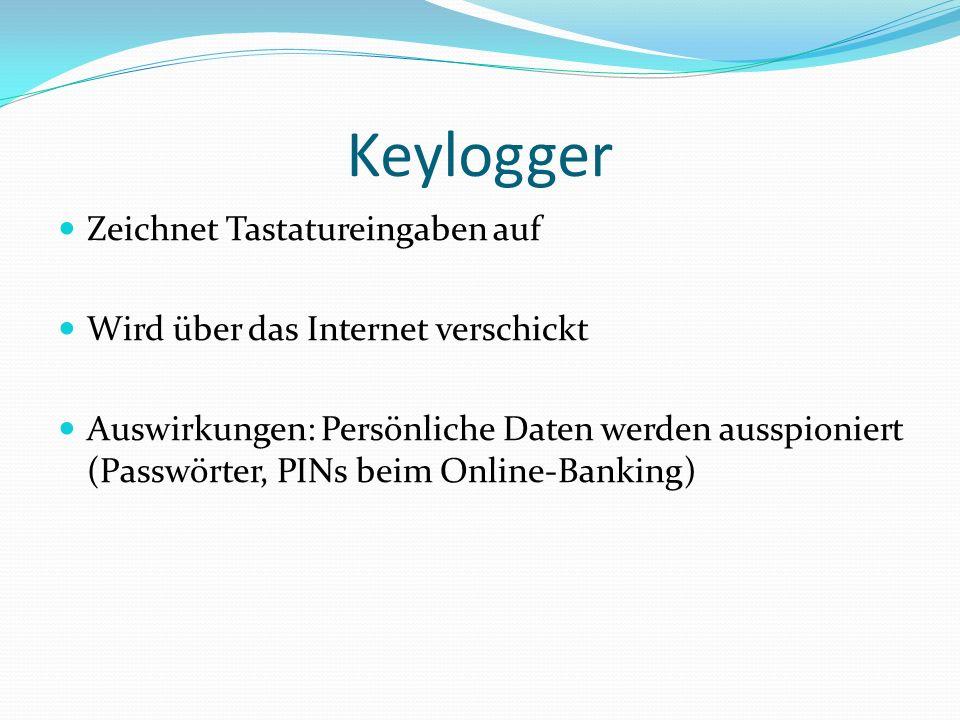 Keylogger Zeichnet Tastatureingaben auf Wird über das Internet verschickt Auswirkungen: Persönliche Daten werden ausspioniert (Passwörter, PINs beim Online-Banking)