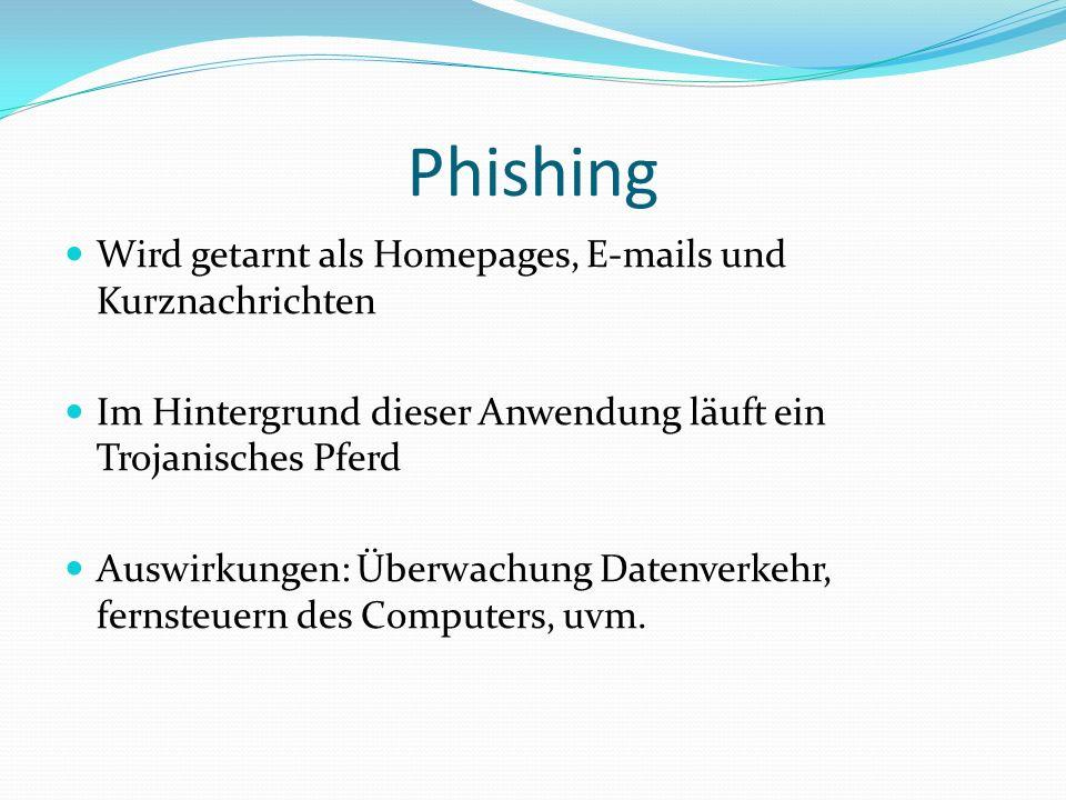 Phishing Wird getarnt als Homepages, E-mails und Kurznachrichten Im Hintergrund dieser Anwendung läuft ein Trojanisches Pferd Auswirkungen: Überwachung Datenverkehr, fernsteuern des Computers, uvm.