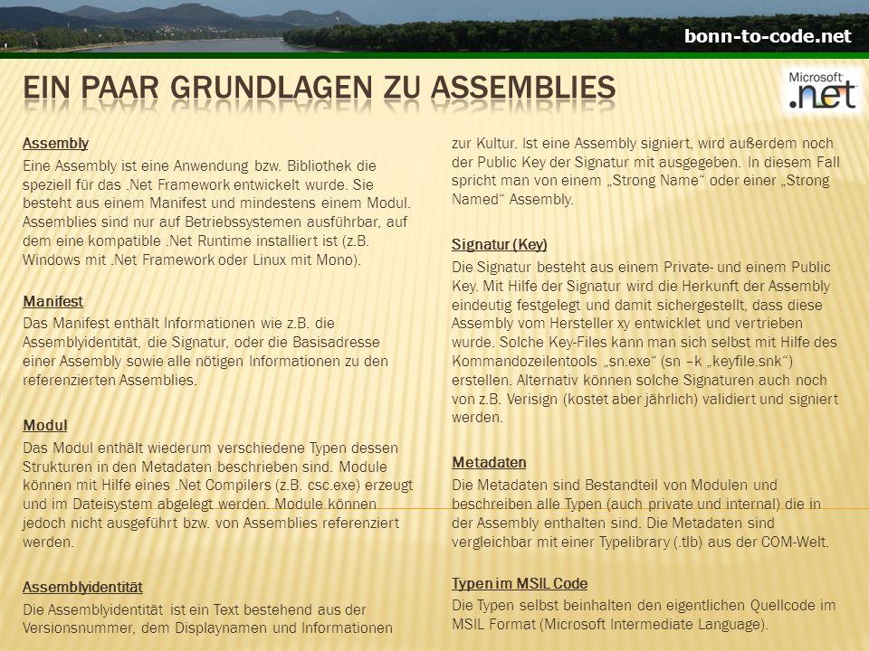 bonn-to-code.net Single Module Assembly Ein Single Module Assembly ist eine Assembly welches aus nur einem Modul aufgebaut ist.